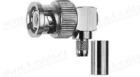 Разъём BNC кабельный, штекер, угловой, обжим, ц.контакт пайка, 75 Ом