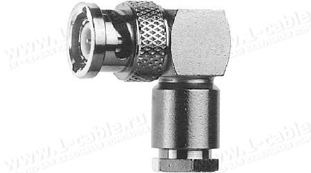 Разъём BNC кабельный, штекер, угловой, муфта- закрутка, 50 Ом