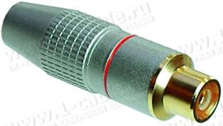 Разъем RCA кабельный, гнездо, пайка, на кабель диам. до 6.0 мм