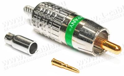 Разъем RCA обжимной штекер, 75 Ом, на кабель диам. 2.5-3.0 мм