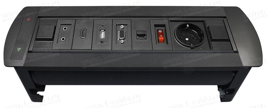 Модульный блок встраиваемый поворотный с электроприводом, для аудио-видео-мультимедиа розеток, серия Rotating Modular