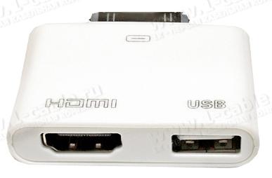 Apple Digital Аудио-Видео адаптер с подзарядкой и синхронизацией для iPad, iPhone 4 и iPod touch 4; 30-пин > HDMI + USB