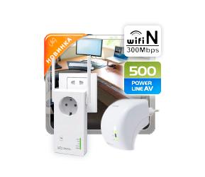 Удлинитель сети Ethernet <br />по силовым линиям с Wi-Fi модулем