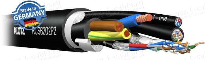 Кабель комбинированный: Управление - витая пара CAT5e-патч SF/UTP (AWG24/1) + Аудио цифровое AES/EBU (110 Ом, AWG24/7)+ Питание (3х 2.5)