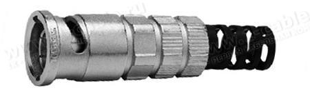 J01002A0080, Разъём BNC кабельный, усиленный, для турового применения, серия EasyGrip HD, штекер, обжим, 75 Ом