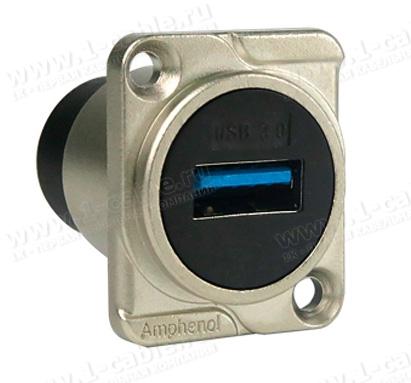 AC-USB3-AA, Разъем USB 3.0 тип А-A панельный, гнездо, крепление D-фланец