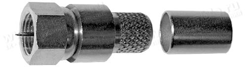 Разъем F, кабельный, штекер с центр.контактом и диэлектриком