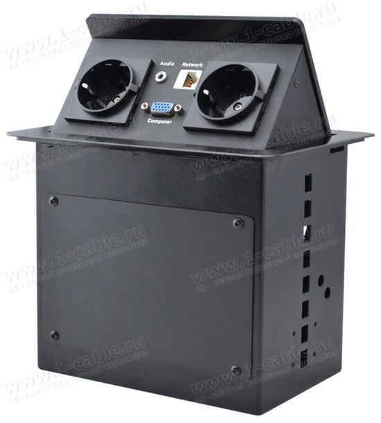 TB-FC-SM4, Люк настольный коммутационный для одного рабочего места с поднимающейся над столом панелью