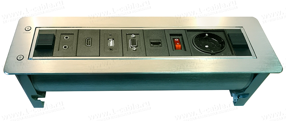 TB-RTME-07AL, Модульный блок встраиваемый поворотный с электроприводом, для аудио-видео-мультимедиа розеток, серия Rotating Modular S