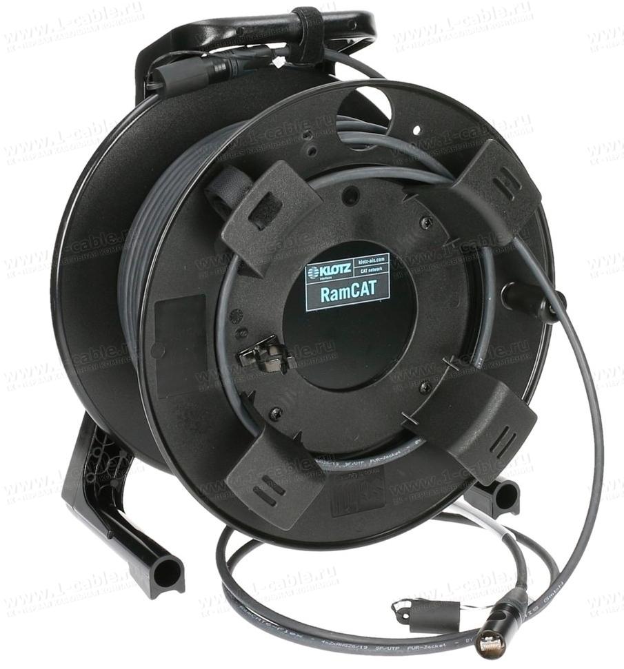 Кабельная система на катушке, на внешнем держателе 1x Ethernet 6A RJ-45 штекер > 1x Ethernet 6A RJ-45 штекер
