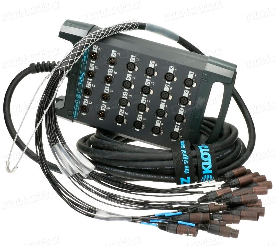 24-кан.(16-IN/8-OUT) студийная мультикорная система TrueLink (16x XLR3 гнездо, 8x XLR3 штекер) > коса с корзиной (16x XLR3 штекер, 8x XLR3 гнездо)