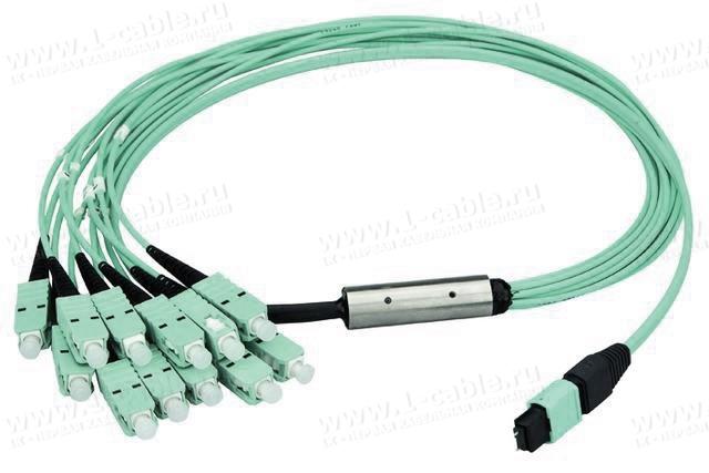 L00830A0024, Переходной оптический многоканальный кабель, разъемы: MPO 12 PC штекер > 12х оптических разъемов, штекер