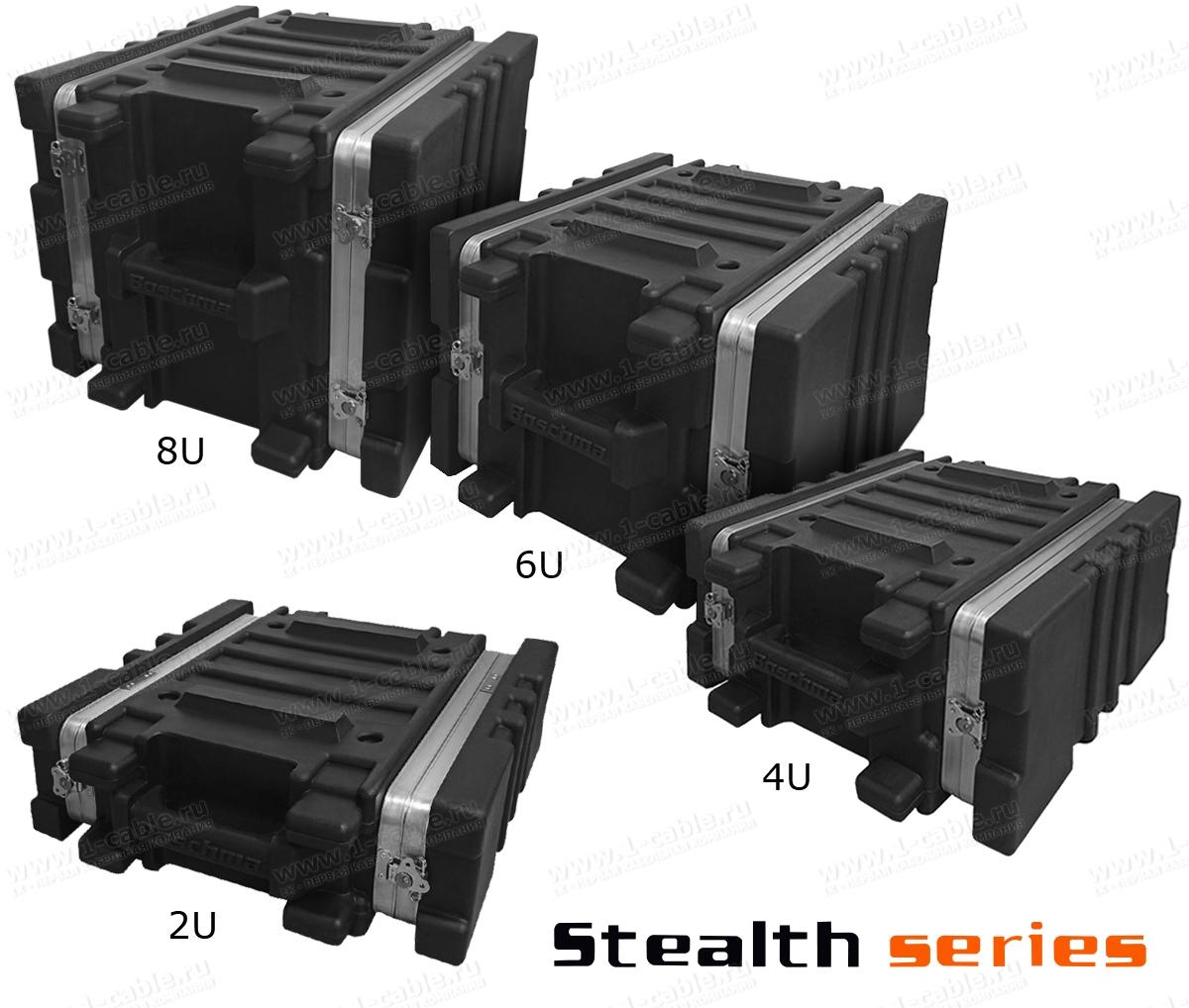 BC-2UBL, Профессиональный кофр из ударопрочного пластика для рэкового оборудования (крепеж в комплекте), серия Stealth