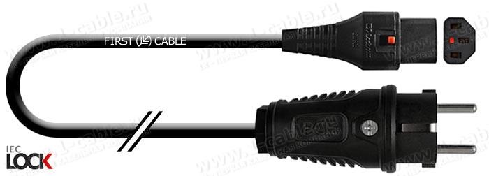 1K-MP45-00.5, Кабель cиловой в изоляции H05VV-F, эластичный 3х1.0, SCHUKO штекер > C13 Lock IEC320 гнездо с фиксацией соединения