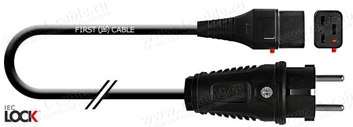 1K-MP55-02, Кабель cиловой в изоляции H05VV-F, эластичный 3х1.5, SCHUKO штекер > C19 Lock IEC320 гнездо с фиксацией соединения