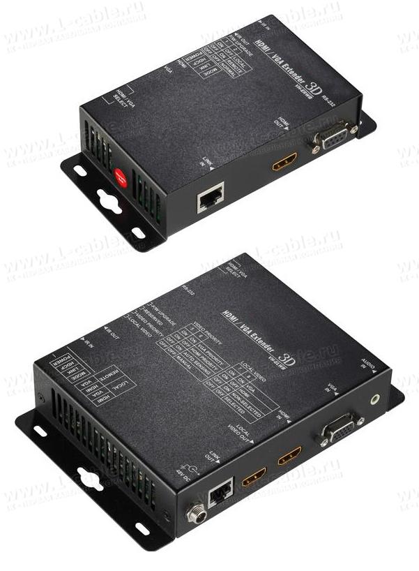 HIT-VHD4K2K-CATP-100W, Удлинитель линий HDMI (4K2K) или VGA (1920x1200) и стереозвука по одному кабелю витая пара, выход HDMI, с передачей ИК сигналов, управление RS-232