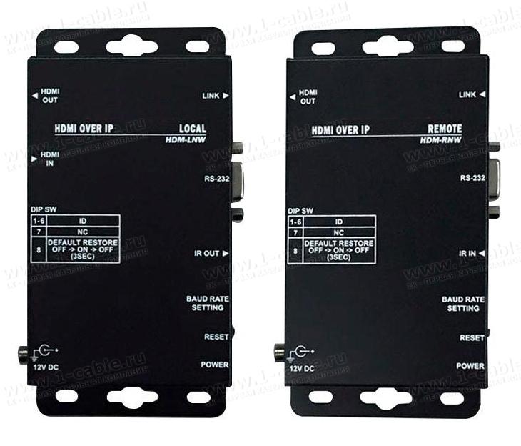 HIT-HDMI-IPCAT5-100W, Удлинитель линий HDMI по одному кабелю витая пара (5e/6 Кат) на длины до 100 м, каскадирование сигналов IP-свитчом